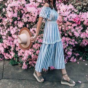 Striped Off Shoulder Midi Dress Size US 2